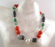 "Collier "" Insouciance "" ""Argent, Onyx, Jade & Fluorites"