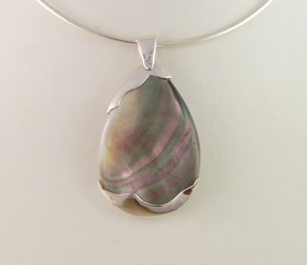 "Pendentif ""Shell"" Nacre Abalone & Argent 925°"